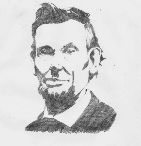 Mono-tone drawing of Abraham Lincoln